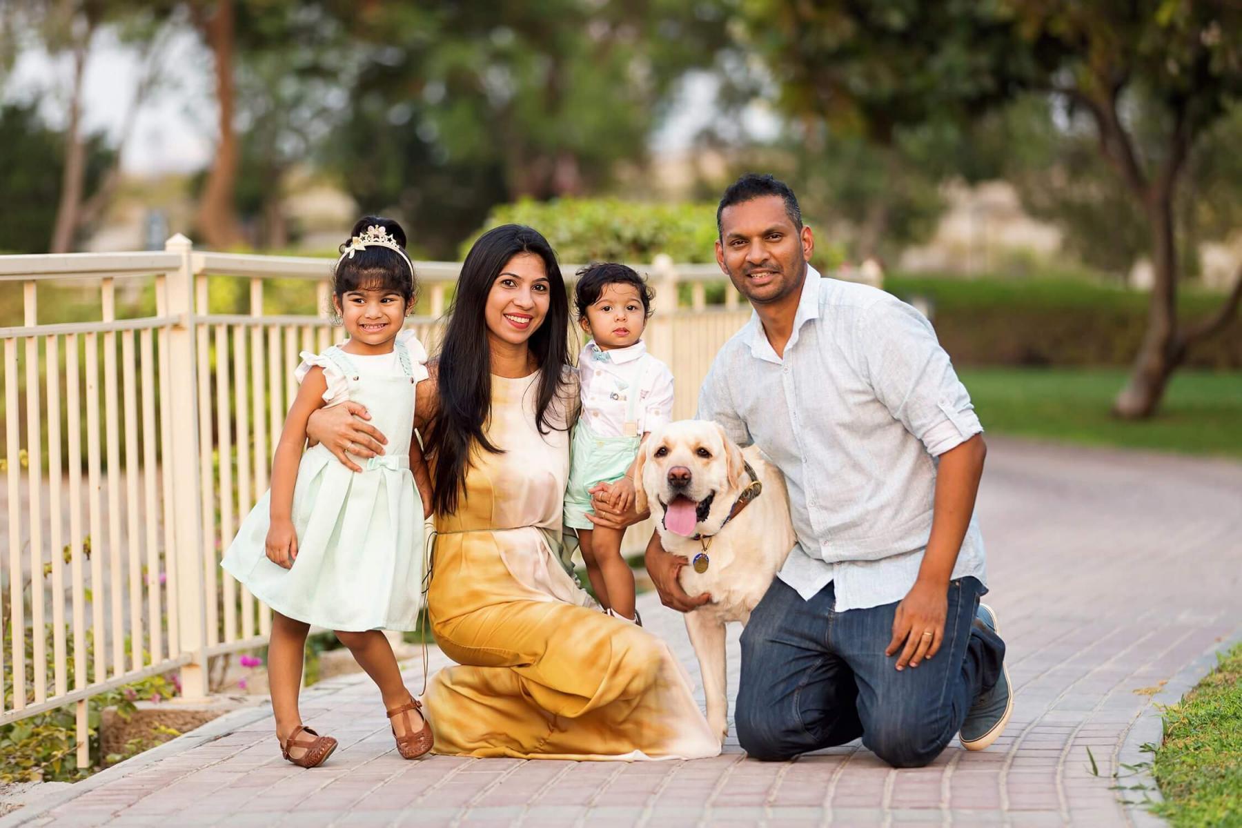 Family photoshoot in Springs community in Dubai