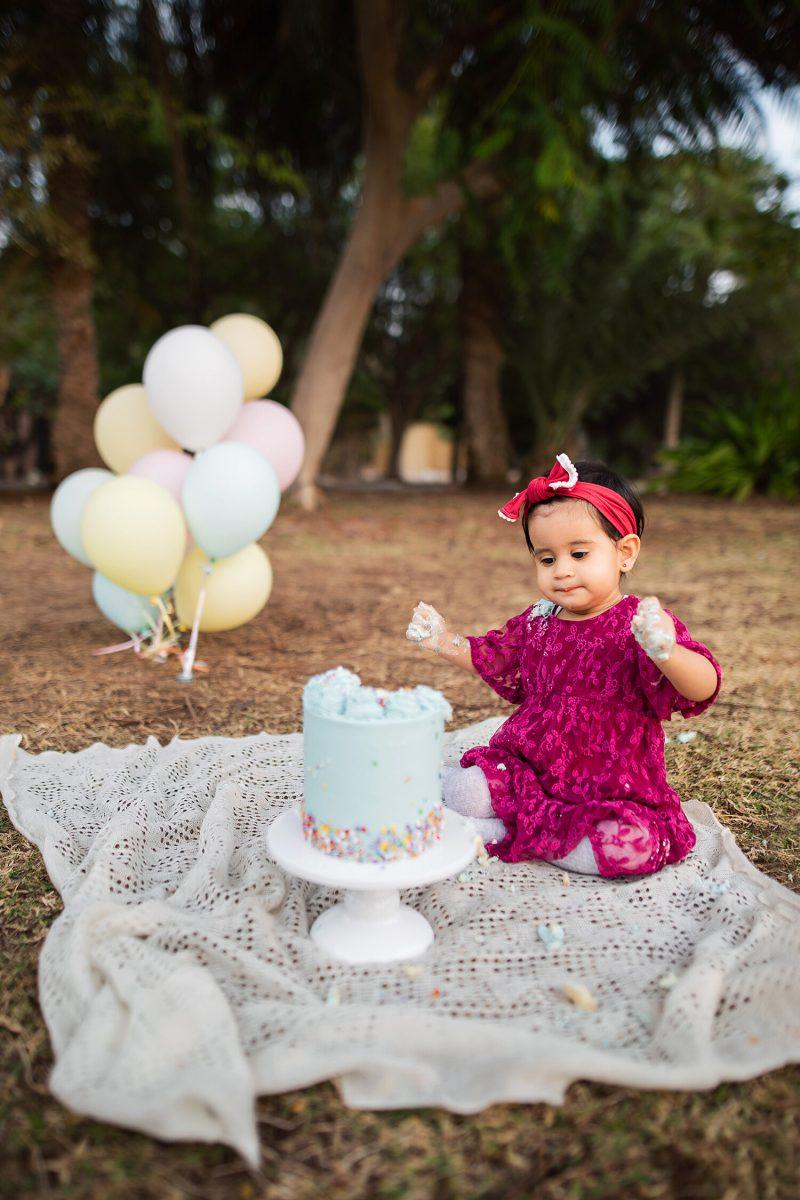 Cake smash photoshoot in Gardens community park in Dubai